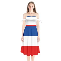 Flag Of Yugoslavia, 1918-1941 Shoulder Tie Bardot Midi Dress by abbeyz71