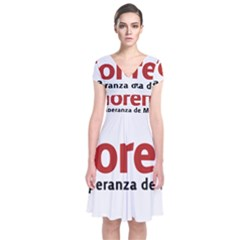 Logo Of Mexico The National Regeneration Movement Party Short Sleeve Front Wrap Dress