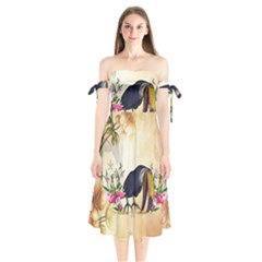 Funny Coutan With Flowers Shoulder Tie Bardot Midi Dress by FantasyWorld7