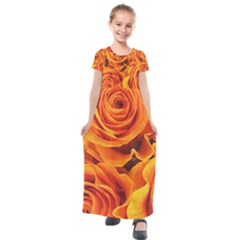 Flower Love Kids  Short Sleeve Maxi Dress by BIBILOVER