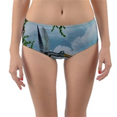 Funny Stork With Creepy Snake Baby Reversible Mid Waist Bikini Bottoms by FantasyWorld7