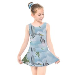 Funny Stork With Creepy Snake Baby Kids  Skater Dress Swimsuit