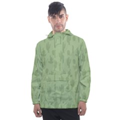 Cactus Pattern Men s Front Pocket Pullover Windbreaker by Valentinaart