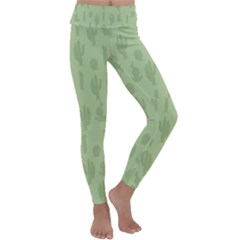 Cactus Pattern Kids  Lightweight Velour Classic Yoga Leggings by Valentinaart