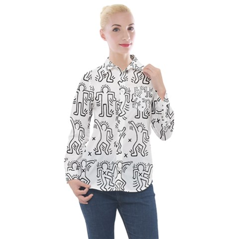 Doodle Pattern Women s Long Sleeve Pocket Shirt by Valentinaart