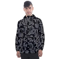 Doodle Pattern Men s Front Pocket Pullover Windbreaker by Valentinaart