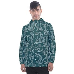 Doodle Pattern Men s Front Pocket Pullover Windbreaker