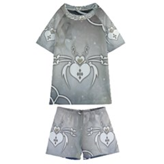 Wonderful Decorative Spider With Hearts Kids  Swim Tee And Shorts Set by FantasyWorld7