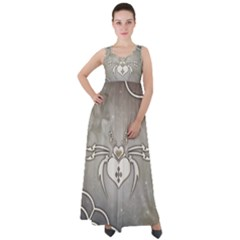 Wonderful Decorative Spider With Hearts Empire Waist Velour Maxi Dress