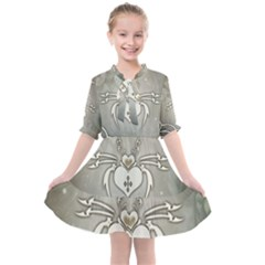 Wonderful Decorative Spider With Hearts Kids  All Frills Chiffon Dress by FantasyWorld7