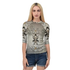 Wonderful Elegant Frog With Flowers Quarter Sleeve Raglan Tee by FantasyWorld7