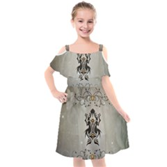 Wonderful Elegant Frog With Flowers Kids  Cut Out Shoulders Chiffon Dress by FantasyWorld7