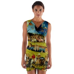 Hieronymus Bosch The Garden Of Earthly Delights (closeup) Wrap Front Bodycon Dress by impacteesstreetwearthree