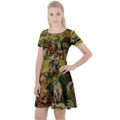 Hieronymus Bosch The Garden Of Earthly Delights (closeup) Hieronymus Bosch The Garden Of Earthly Delights (closeup) 3 Cap Sleeve Velour Dress  by impacteesstreetwearthree