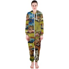 Hieronymus Bosch The Garden Of Earthly Delights (closeup) Hieronymus Bosch The Garden Of Earthly Delights (closeup) 3 Hooded Jumpsuit (ladies)  by impacteesstreetwearthree