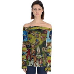Hieronymus Bosch The Garden Of Earthly Delights (closeup) Hieronymus Bosch The Garden Of Earthly Delights (closeup) 3 Off Shoulder Long Sleeve Top by impacteesstreetwearthree