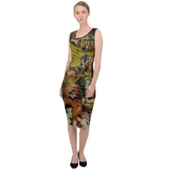 Heronimus Bosch Ship Of Fools Hieronymus Bosch The Garden Of Earthly Delights (closeup) 3 Sleeveless Pencil Dress by impacteesstreetwearthree