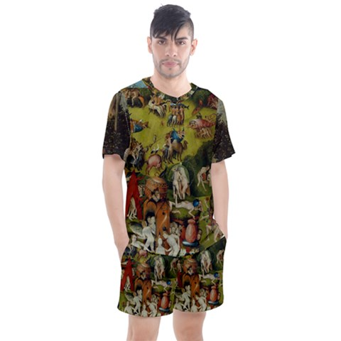 Heronimus Bosch Ship Of Fools Hieronymus Bosch The Garden Of Earthly Delights (closeup) 3 Men s Mesh Tee And Shorts Set by impacteesstreetwearthree