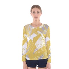 Ochre Yellow And Grey Abstract Women s Long Sleeve Tee by charliecreates