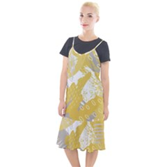 Ochre Yellow And Grey Abstract Camis Fishtail Dress by charliecreates