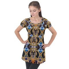 Luxury Abstract Design Puff Sleeve Tunic Top