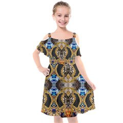 Luxury Abstract Design Kids  Cut Out Shoulders Chiffon Dress by tarastyle