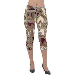 Luxury Abstract Design Lightweight Velour Capri Leggings  by tarastyle