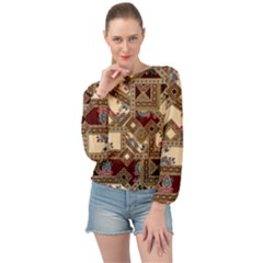 Luxury Abstract Design Banded Bottom Chiffon Top by tarastyle