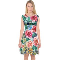 Watercolour Floral  Capsleeve Midi Dress