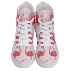 Pink Watercolour Flamingo Women s Hi Top Skate Sneakers