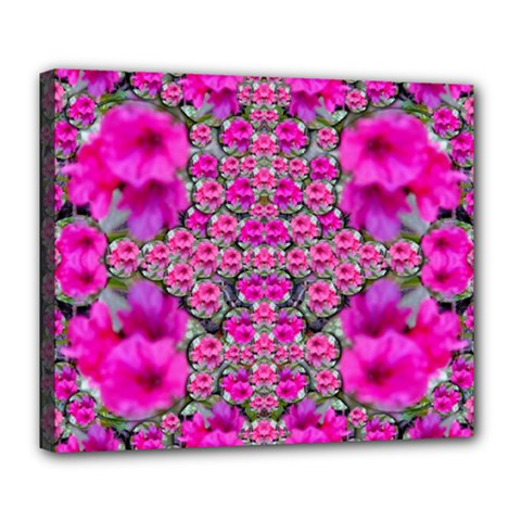 From The Sky Came Flowers In Peace Deluxe Canvas 24  X 20  (stretched) by pepitasart