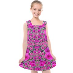 From The Sky Came Flowers In Peace Kids  Cross Back Dress by pepitasart