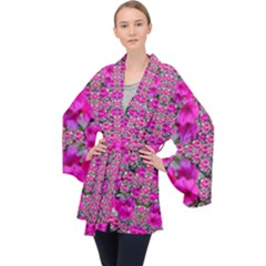 From The Sky Came Flowers In Peace Velvet Kimono Robe