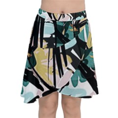 Abstract Brushstrokes Aqua Wrap Front Skirt