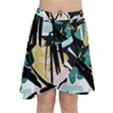Abstract Brushstrokes Aqua Wrap Front Skirt View1