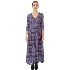 Lilac Brick Art Button Up Boho Maxi Dress