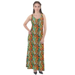 Floral Pattern 1 Sleeveless Velour Maxi Dress