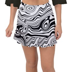 Lines Abstract Distorted Texture Fishtail Mini Chiffon Skirt