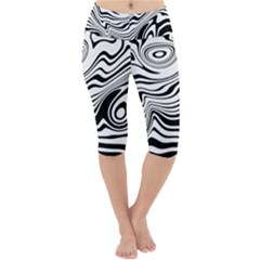 Lines Abstract Distorted Texture Lightweight Velour Cropped Yoga Leggings