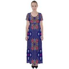 Morocco Tile Traditional Marrakech High Waist Short Sleeve Maxi Dress by Pakrebo