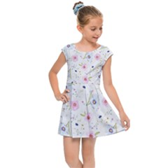 Floral Pattern Background Kids  Cap Sleeve Dress