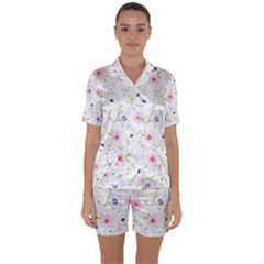 Floral Pattern Background Satin Short Sleeve Pyjamas Set
