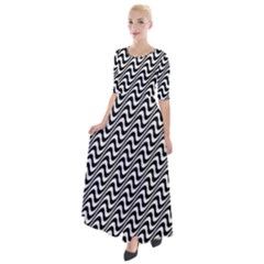 Insomnia - Black & White Stripes Half Sleeves Maxi Dress by WensdaiAmbrose