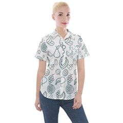 Fruit Material Design Transparent Women s Short Sleeve Pocket Shirt by Pakrebo