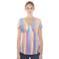 Watercolour Watercolor Background Short Sleeve Front Detail Top