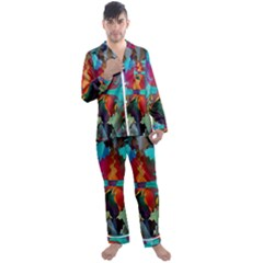 Background Sci Fi Fantasy Colorful Men s Satin Pajamas Long Pants Set