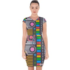 Abstract Background Colors Shapes Capsleeve Drawstring Dress