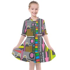 Abstract Background Colors Shapes Kids  All Frills Chiffon Dress
