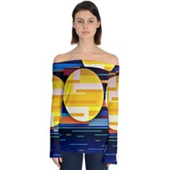 Background Abstract Horizon Off Shoulder Long Sleeve Top by Pakrebo