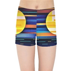 Background Abstract Horizon Kids  Sports Shorts by Pakrebo